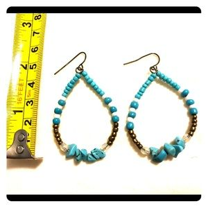 Turquoise and gold bead drop earrings